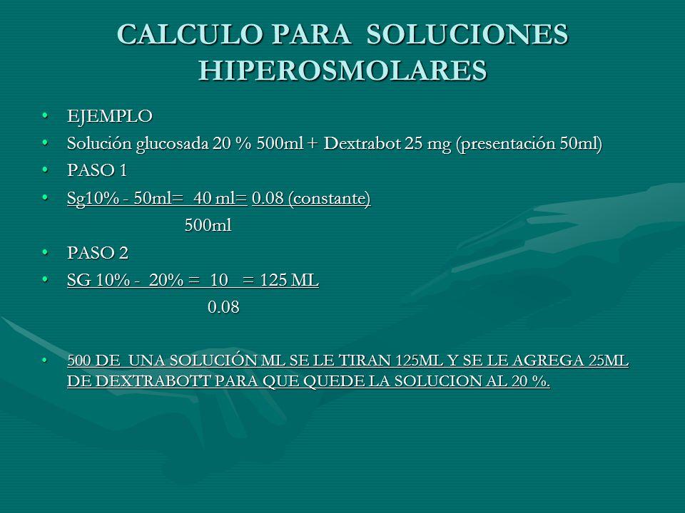 CALCULO PARA SOLUCIONES HIPEROSMOLARES EJEMPLOEJEMPLO Solución glucosada 20 % 500ml + Dextrabot 25 mg (presentación 50ml)Solución glucosada 20 % 500ml + Dextrabot 25 mg (presentación 50ml) PASO 1PASO 1 Sg10% - 50ml= 40 ml= 0.08 (constante)Sg10% - 50ml= 40 ml= 0.08 (constante) 500ml 500ml PASO 2PASO 2 SG 10% - 20% = 10 = 125 MLSG 10% - 20% = 10 = 125 ML 0.08 0.08 500 DE UNA SOLUCIÓN ML SE LE TIRAN 125ML Y SE LE AGREGA 25ML DE DEXTRABOTT PARA QUE QUEDE LA SOLUCION AL 20 %.500 DE UNA SOLUCIÓN ML SE LE TIRAN 125ML Y SE LE AGREGA 25ML DE DEXTRABOTT PARA QUE QUEDE LA SOLUCION AL 20 %.