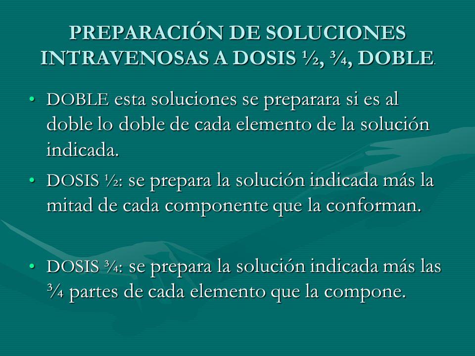 PREPARACIÓN DE SOLUCIONES INTRAVENOSAS A DOSIS ½, ¾, DOBLE.