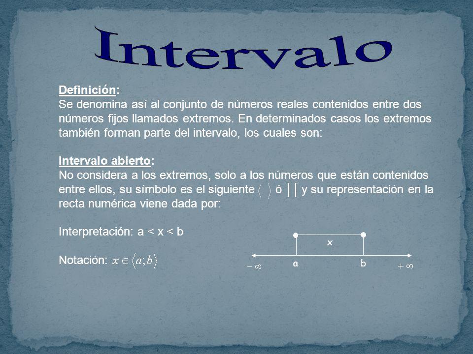 Definición: Se denomina así al conjunto de números reales contenidos entre dos números fijos llamados extremos.