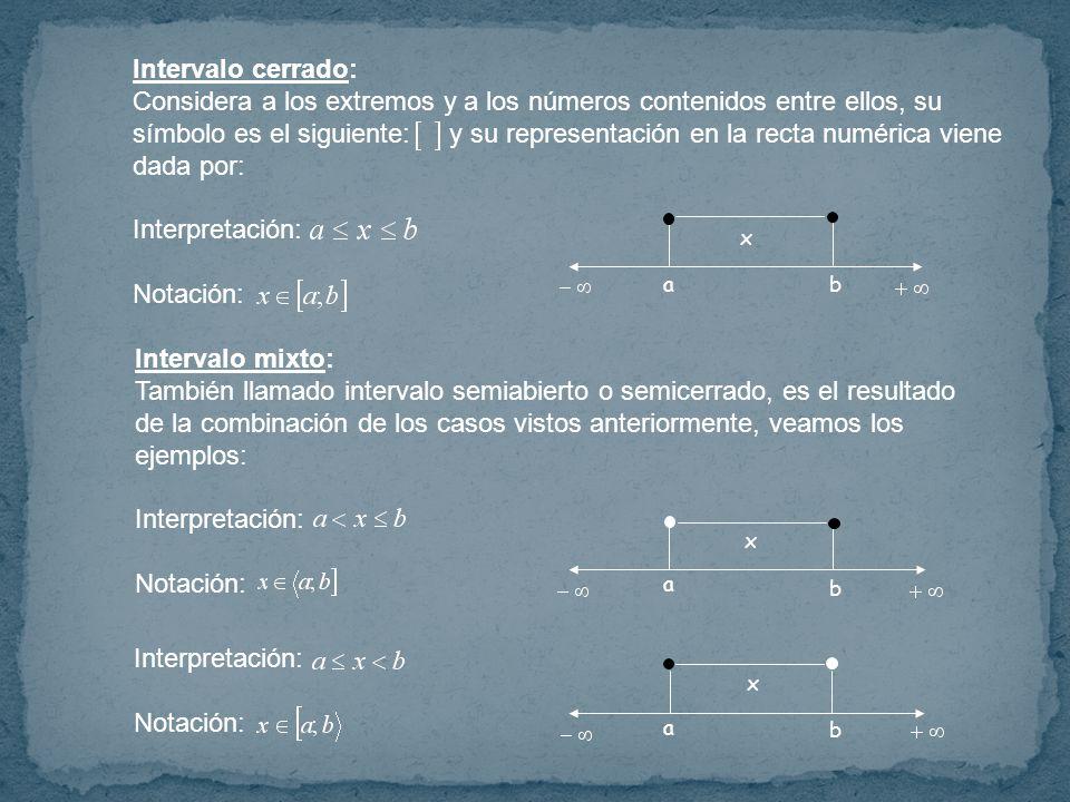 Intervalo cerrado: Considera a los extremos y a los números contenidos entre ellos, su símbolo es el siguiente: y su representación en la recta numérica viene dada por: Interpretación: Notación: ab x Intervalo mixto: También llamado intervalo semiabierto o semicerrado, es el resultado de la combinación de los casos vistos anteriormente, veamos los ejemplos: Interpretación: Notación: Interpretación: Notación: a a b b x x