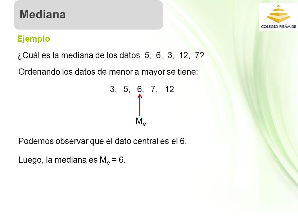 Propiedad Intelectual Cpech ¿Cuál es la mediana de los datos 5, 6, 3, 12, 7.