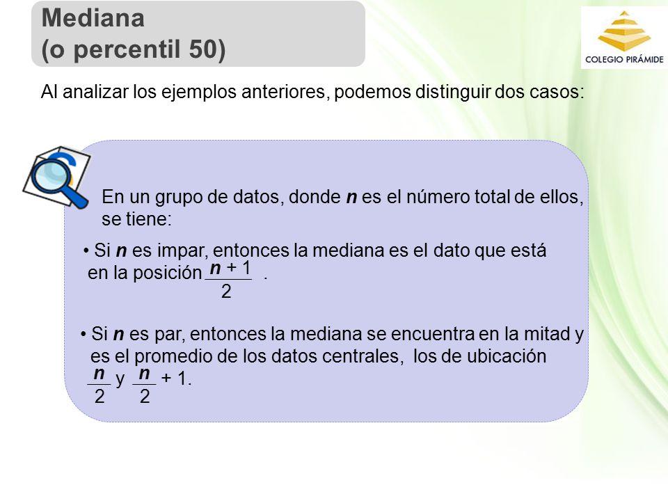 Propiedad Intelectual Cpech Al analizar los ejemplos anteriores, podemos distinguir dos casos: En un grupo de datos, donde n es el número total de ellos, se tiene: Si n es impar, entonces la mediana es el dato que está en la posición.
