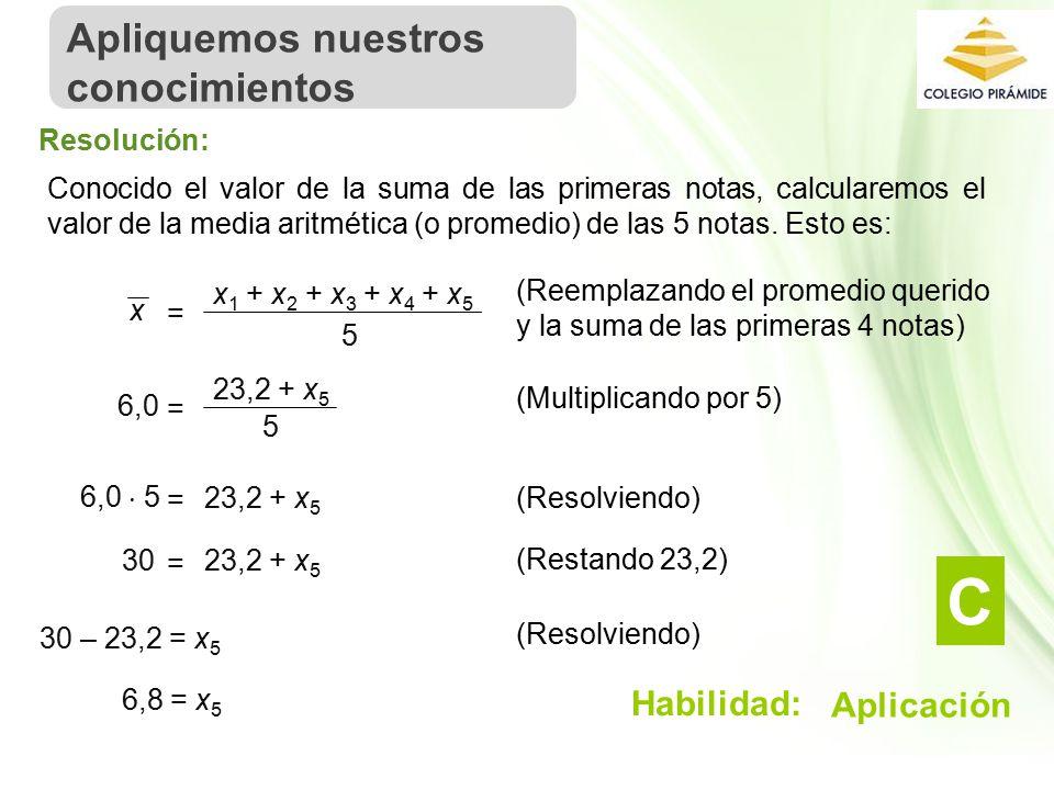 Propiedad Intelectual Cpech Conocido el valor de la suma de las primeras notas, calcularemos el valor de la media aritmética (o promedio) de las 5 notas.