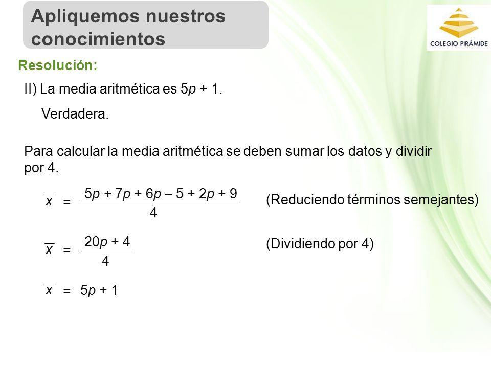 Propiedad Intelectual Cpech II) La media aritmética es 5p + 1.
