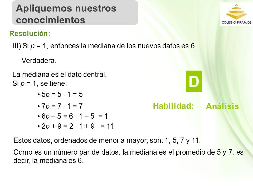 Propiedad Intelectual Cpech III) Si p = 1, entonces la mediana de los nuevos datos es 6.