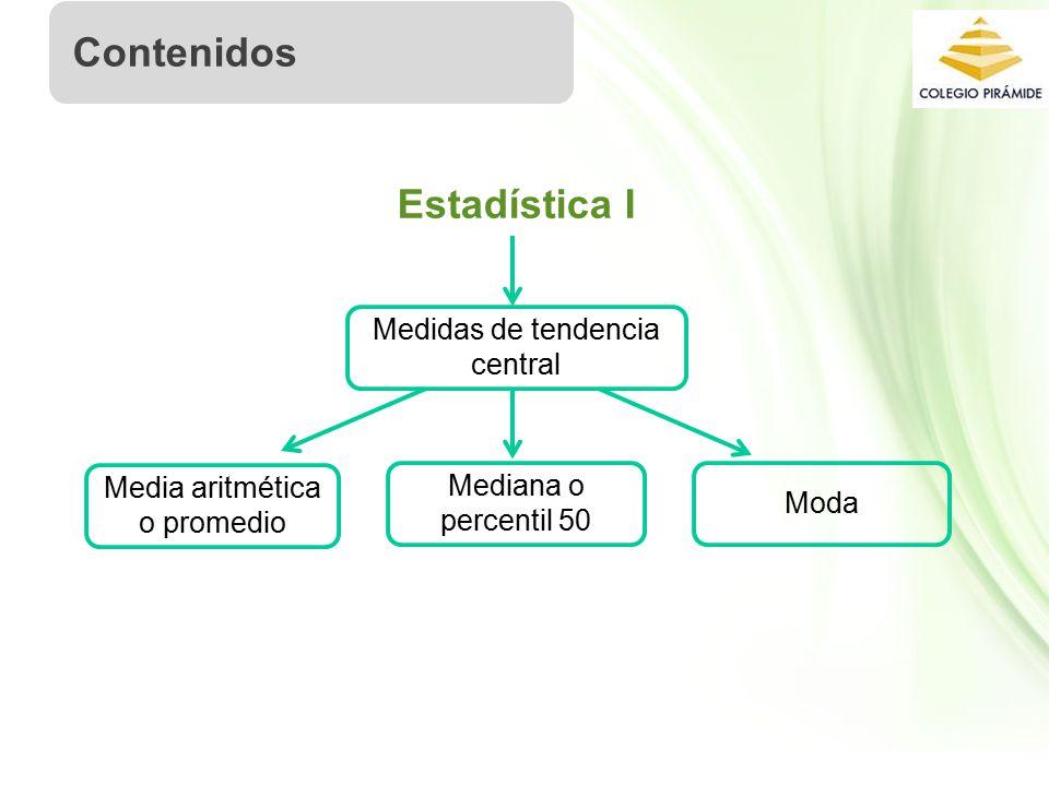 Propiedad Intelectual Cpech Estadística I Medidas de tendencia central Contenidos Media aritmética o promedio Mediana o percentil 50 Moda