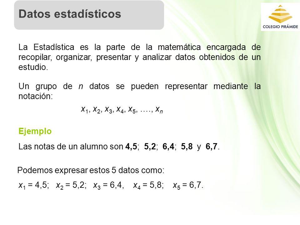 Propiedad Intelectual Cpech La Estadística es la parte de la matemática encargada de recopilar, organizar, presentar y analizar datos obtenidos de un estudio.