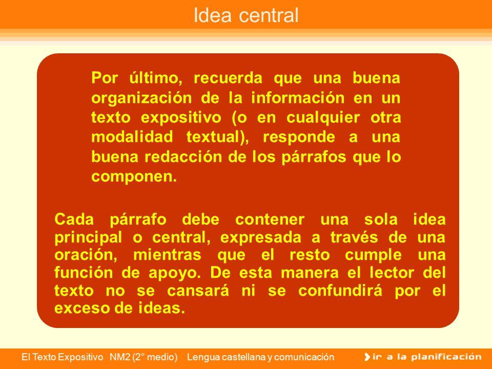 El Texto Expositivo NM2 (2° medio) Lengua castellana y comunicación Orden causal: el texto presenta ciertas informaciones o ideas como causas y otras como consecuencias.