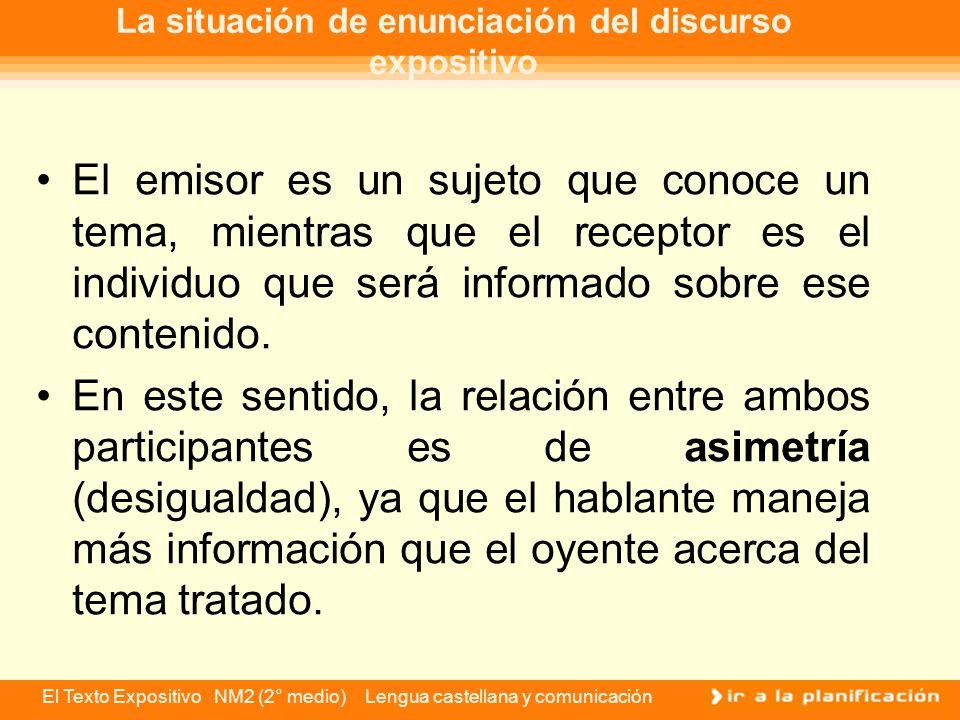 El Texto Expositivo NM2 (2° medio) Lengua castellana y comunicación El auditorio El auditorio o tipo de público lector al que se dirigirá el texto expositivo que redactes, es uno de los factores más importantes que debes tener en cuenta.