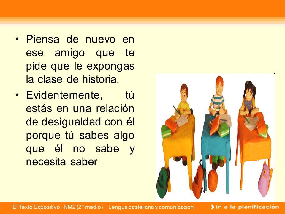 El Texto Expositivo NM2 (2° medio) Lengua castellana y comunicación La situación de enunciación del discurso expositivo El emisor es un sujeto que conoce un tema, mientras que el receptor es el individuo que será informado sobre ese contenido.