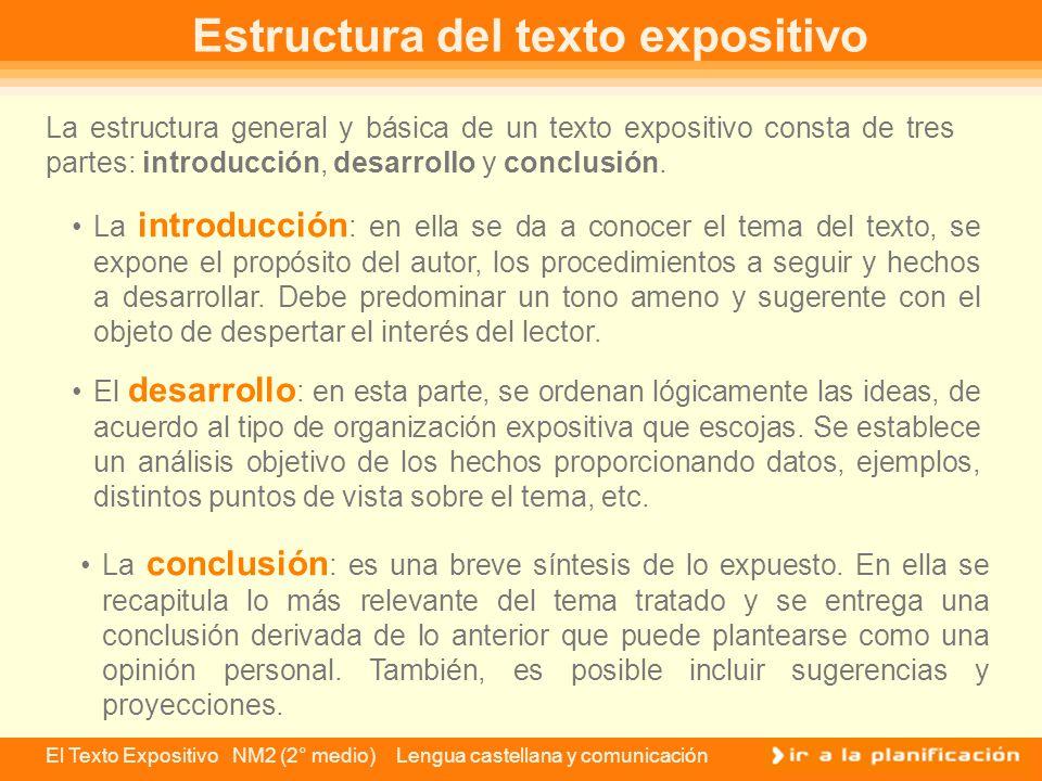 El Texto Expositivo NM2 (2° medio) Lengua castellana y comunicación Piensa de nuevo en ese amigo que te pide que le expongas la clase de historia.