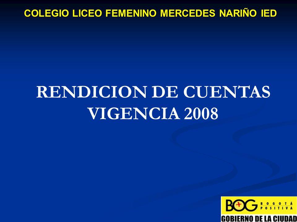 GASTOS DE INVERSION COLEGIO LICEO FEMENINO MERCEDES NARIÑO IED