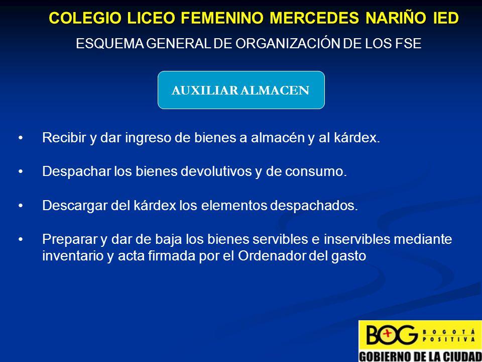 MATERIALES Y SUMINISTROS COLEGIO LICEO FEMENINO MERCEDES NARIÑO IED