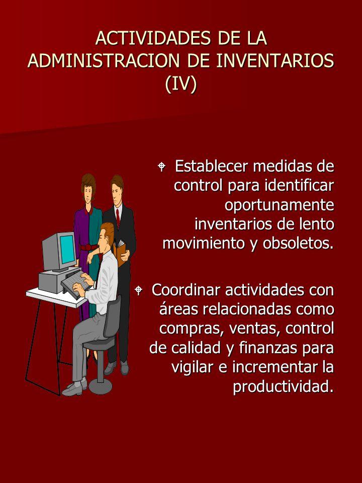 ACTIVIDADES DE LA ADMINISTRACION DE INVENTARIOS (IV) W Establecer medidas de control para identificar oportunamente inventarios de lento movimiento y
