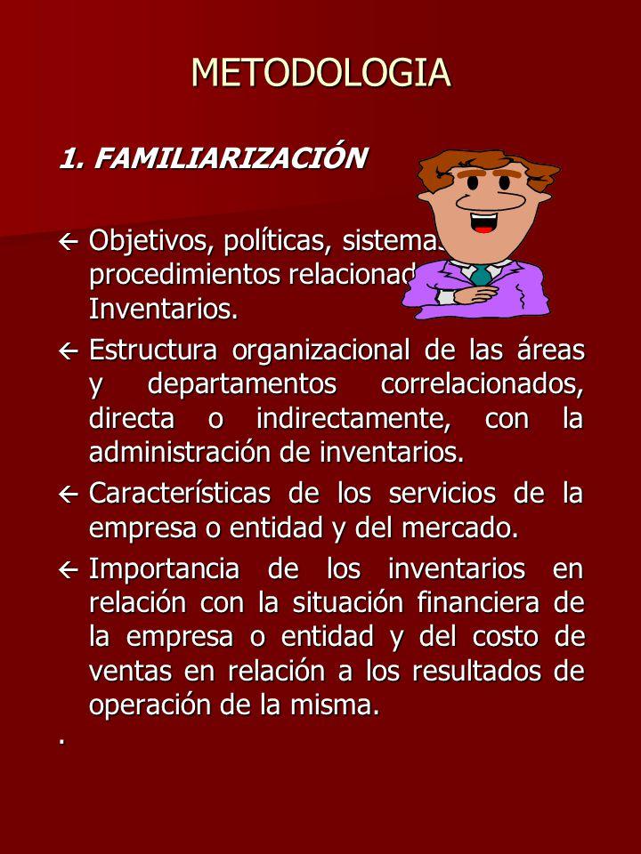 METODOLOGIA 1. FAMILIARIZACIÓN ß Objetivos, políticas, sistemas y procedimientos relacionados con los Inventarios. ß Estructura organizacional de las