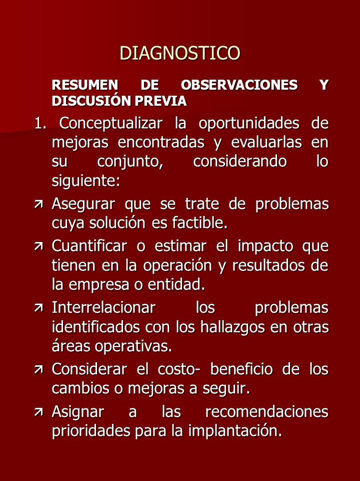DIAGNOSTICO RESUMEN DE OBSERVACIONES Y DISCUSIÓN PREVIA 1. Conceptualizar la oportunidades de mejoras encontradas y evaluarlas en su conjunto, conside