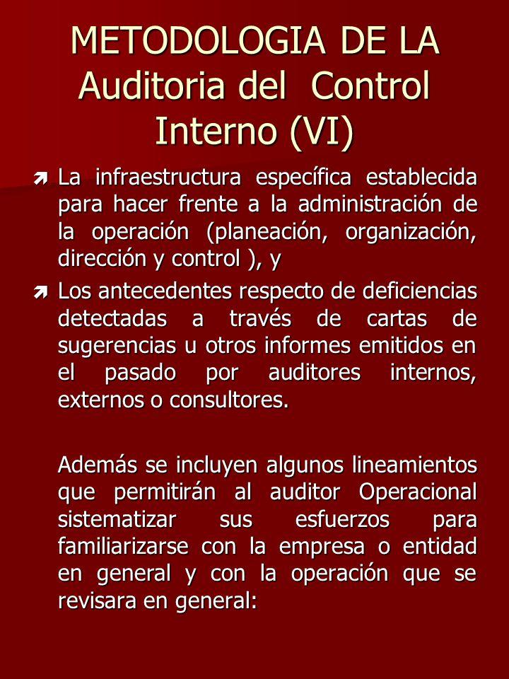 METODOLOGIA DE LA Auditoria del Control Interno (VI) ì La infraestructura específica establecida para hacer frente a la administración de la operación