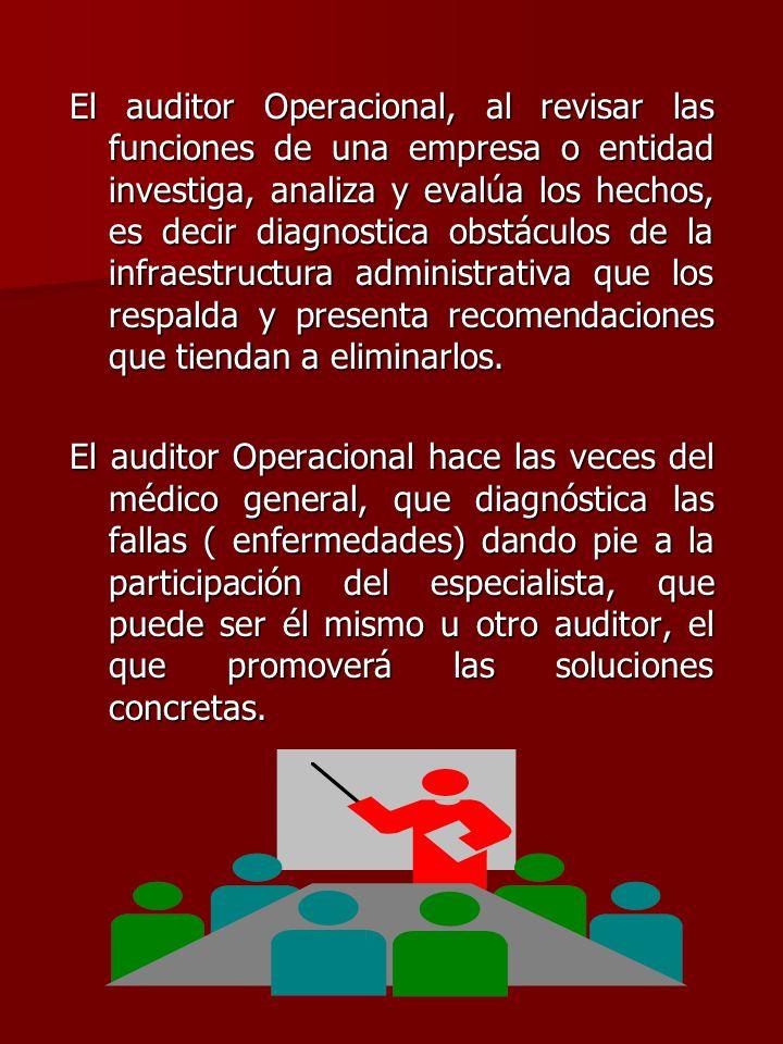 El auditor Operacional, al revisar las funciones de una empresa o entidad investiga, analiza y evalúa los hechos, es decir diagnostica obstáculos de l