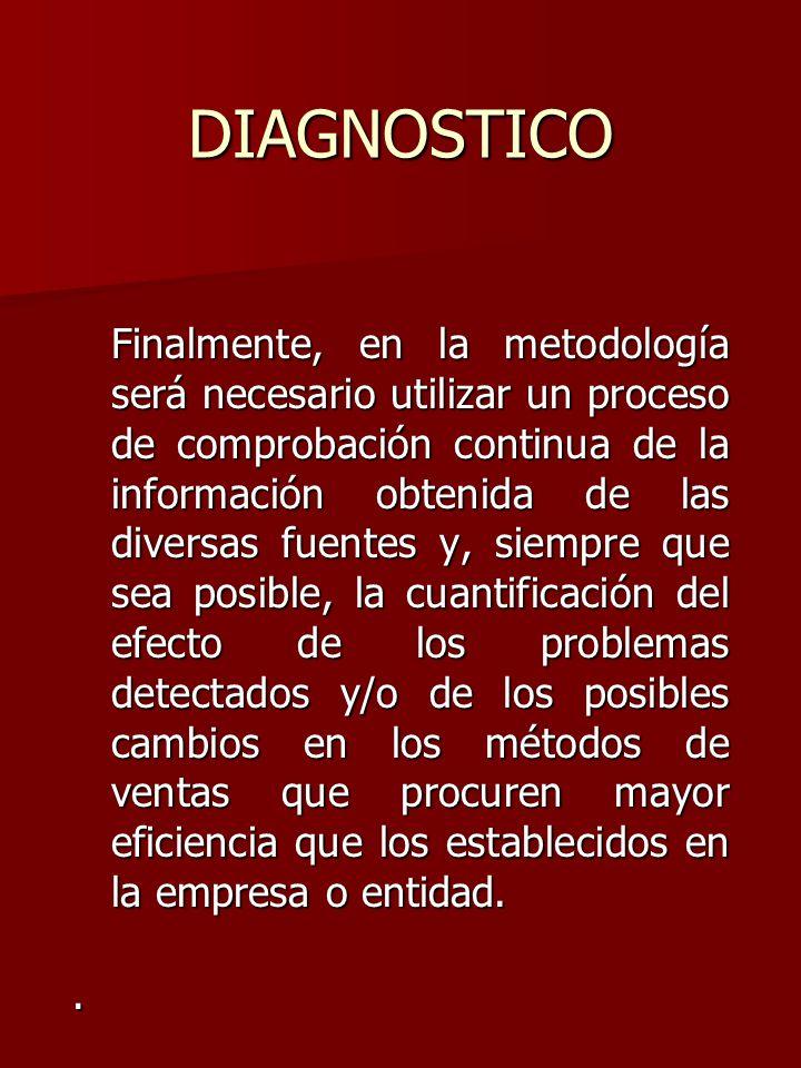 DIAGNOSTICO Finalmente, en la metodología será necesario utilizar un proceso de comprobación continua de la información obtenida de las diversas fuent