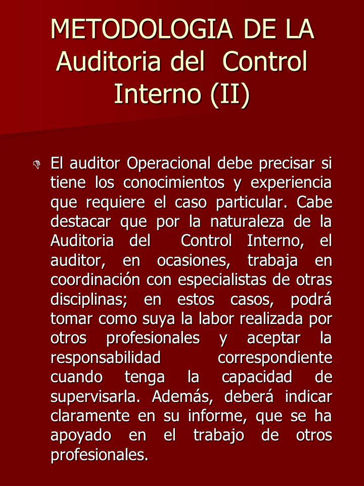 METODOLOGIA DE LA Auditoria del Control Interno (II) D El auditor Operacional debe precisar si tiene los conocimientos y experiencia que requiere el c