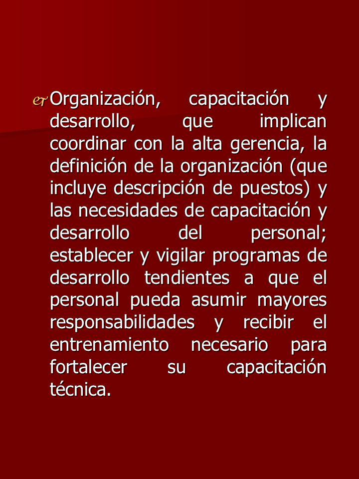 j Organización, capacitación y desarrollo, que implican coordinar con la alta gerencia, la definición de la organización (que incluye descripción de p