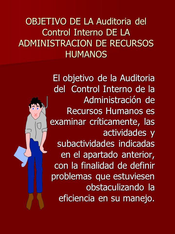 OBJETIVO DE LA Auditoria del Control Interno DE LA ADMINISTRACION DE RECURSOS HUMANOS El objetivo de la Auditoria del Control Interno de la Administra