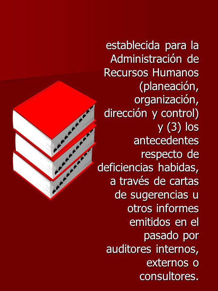 establecida para la Administración de Recursos Humanos (planeación, organización, dirección y control) y (3) los antecedentes respecto de deficiencias