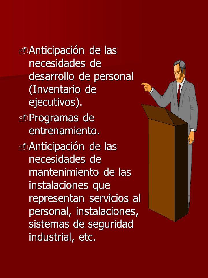 - Anticipación de las necesidades de desarrollo de personal (Inventario de ejecutivos). - Programas de entrenamiento. - Anticipación de las necesidade