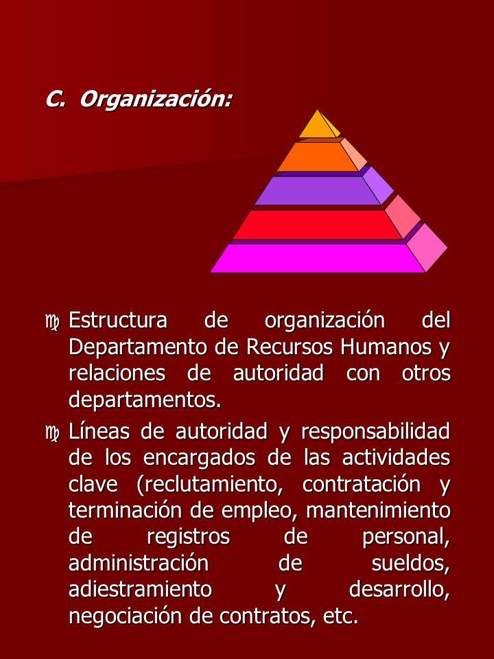 C. Organización: c Estructura de organización del Departamento de Recursos Humanos y relaciones de autoridad con otros departamentos. c Líneas de auto