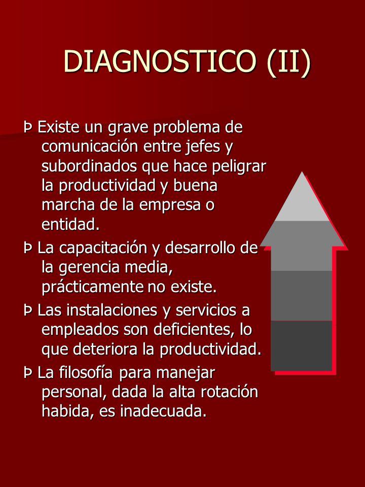 DIAGNOSTICO (II) DIAGNOSTICO (II) Þ Existe un grave problema de comunicación entre jefes y subordinados que hace peligrar la productividad y buena mar