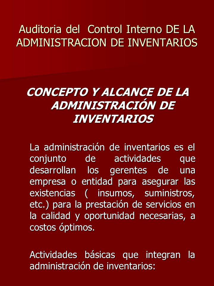 Auditoria del Control Interno DE LA ADMINISTRACION DE INVENTARIOS CONCEPTO Y ALCANCE DE LA ADMINISTRACIÓN DE INVENTARIOS La administración de inventar