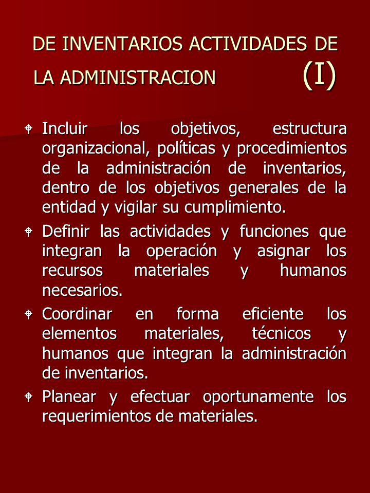 DE INVENTARIOS ACTIVIDADES DE LA ADMINISTRACION (I) W Incluir los objetivos, estructura organizacional, políticas y procedimientos de la administració