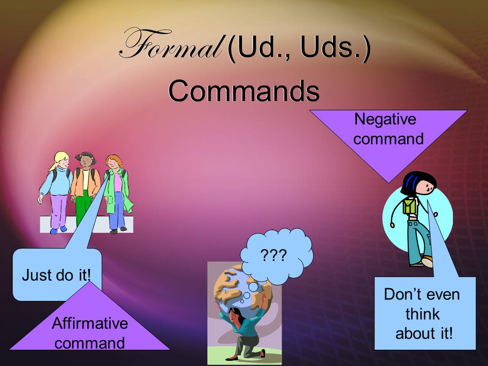 Formal (Ud., Uds.) Commands . Just do it. Don't even think about it.