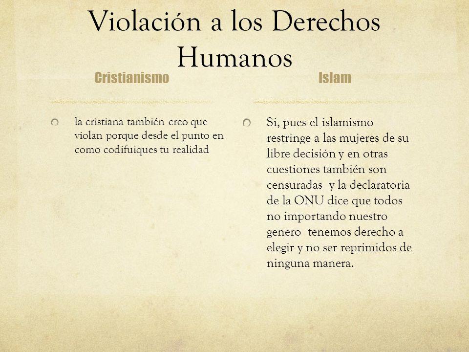 Violación a los Derechos Humanos Cristianismo la cristiana también creo que violan porque desde el punto en como codifuiques tu realidad Islam