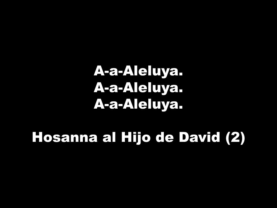 A-a-Aleluya. Hosanna al Hijo de David (2)