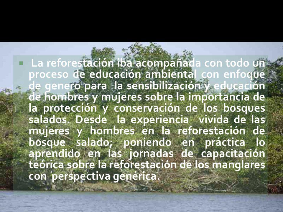  La reforestación iba acompañada con todo un proceso de educación ambiental con enfoque de genero para la sensibilización y educación de hombres y mujeres sobre la importancia de la protección y conservación de los bosques salados.