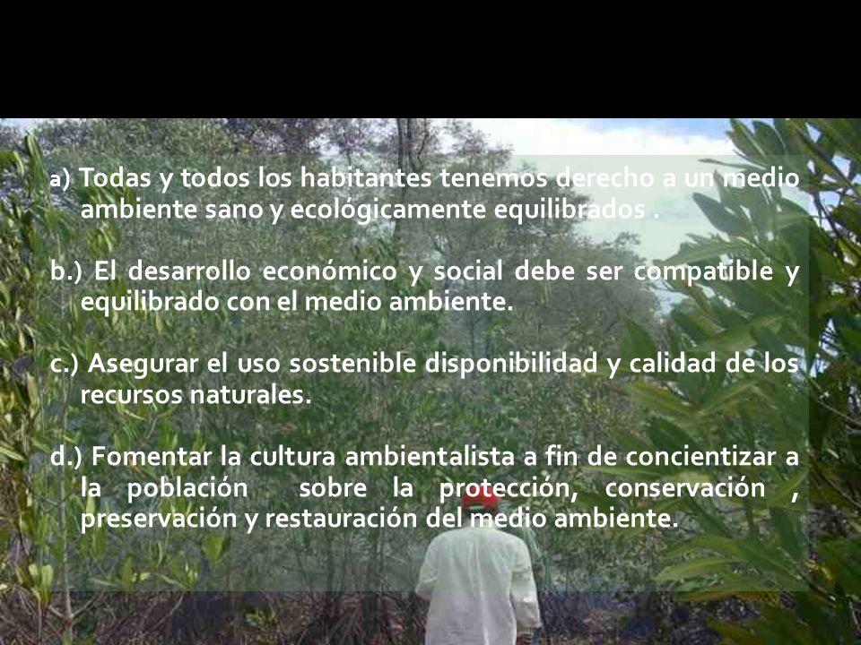 a ) Todas y todos los habitantes tenemos derecho a un medio ambiente sano y ecológicamente equilibrados.