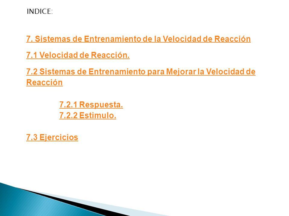 INDICE: 7.Sistemas de Entrenamiento de la Velocidad de Reacción 7.1 Velocidad de Reacción.