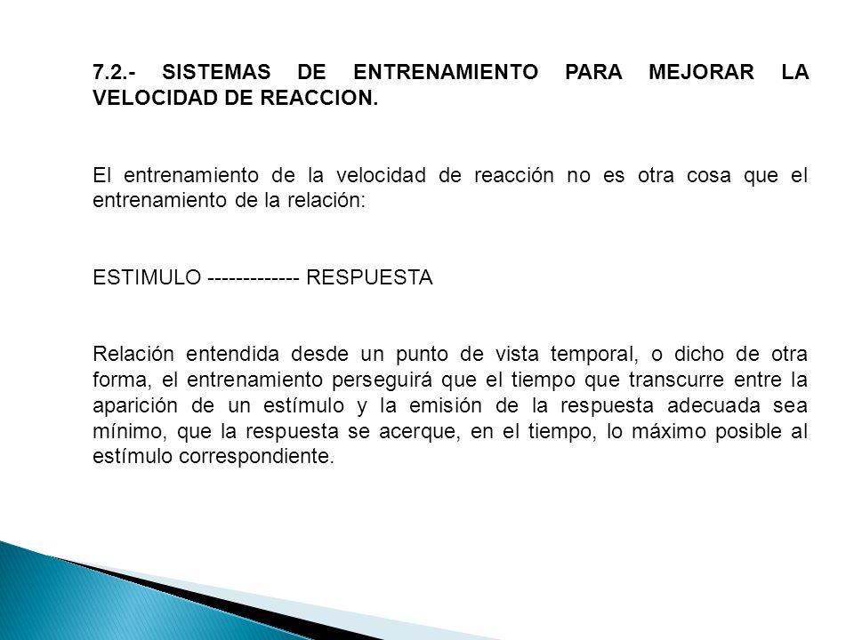 7.2.- SISTEMAS DE ENTRENAMIENTO PARA MEJORAR LA VELOCIDAD DE REACCION.