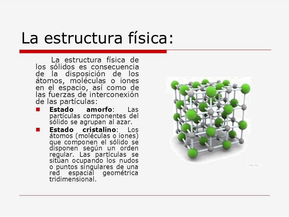 La estructura física: La estructura física de los sólidos es consecuencia de la disposición de los átomos, moléculas o iones en el espacio, así como de las fuerzas de interconexión de las partículas: Estado amorfo: Las partículas componentes del sólido se agrupan al azar.