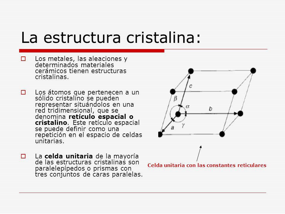 La estructura cristalina:  Los metales, las aleaciones y determinados materiales cerámicos tienen estructuras cristalinas.