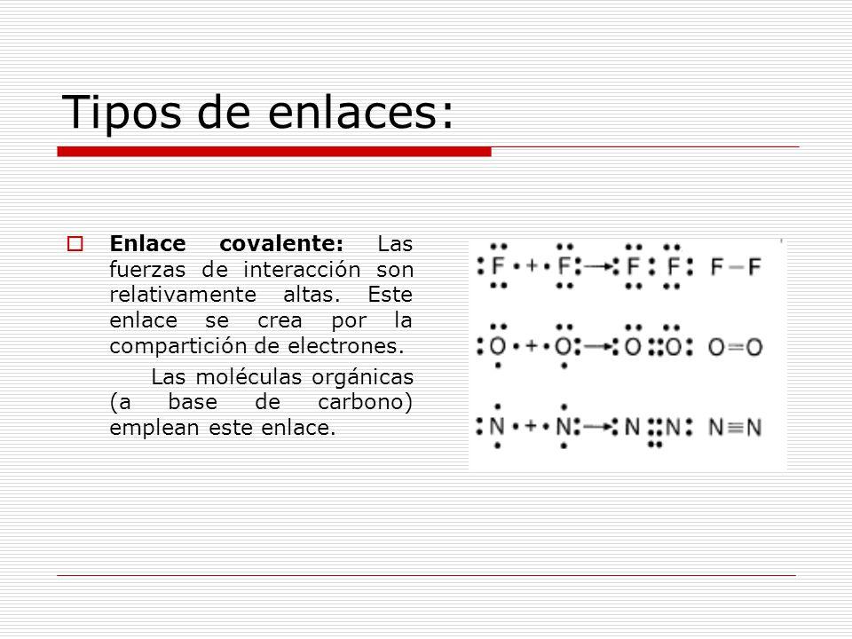 Tipos de enlace:  Enlace metálico: Se da solo entre elementos metálicos, los cuales tienden a ceder sus electrones y transformarse en iones positivos.