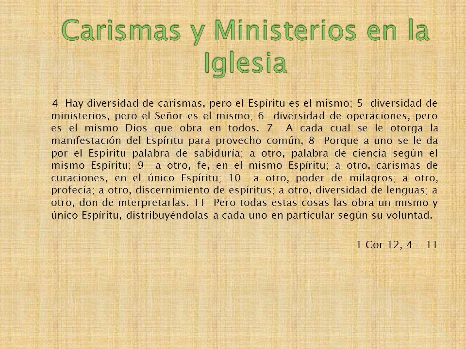 4 Hay diversidad de carismas, pero el Espíritu es el mismo; 5 diversidad de ministerios, pero el Señor es el mismo; 6 diversidad de operaciones, pero es el mismo Dios que obra en todos.