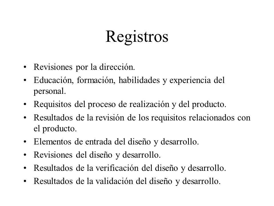 Registros Revisiones por la dirección. Educación, formación, habilidades y experiencia del personal. Requisitos del proceso de realización y del produ