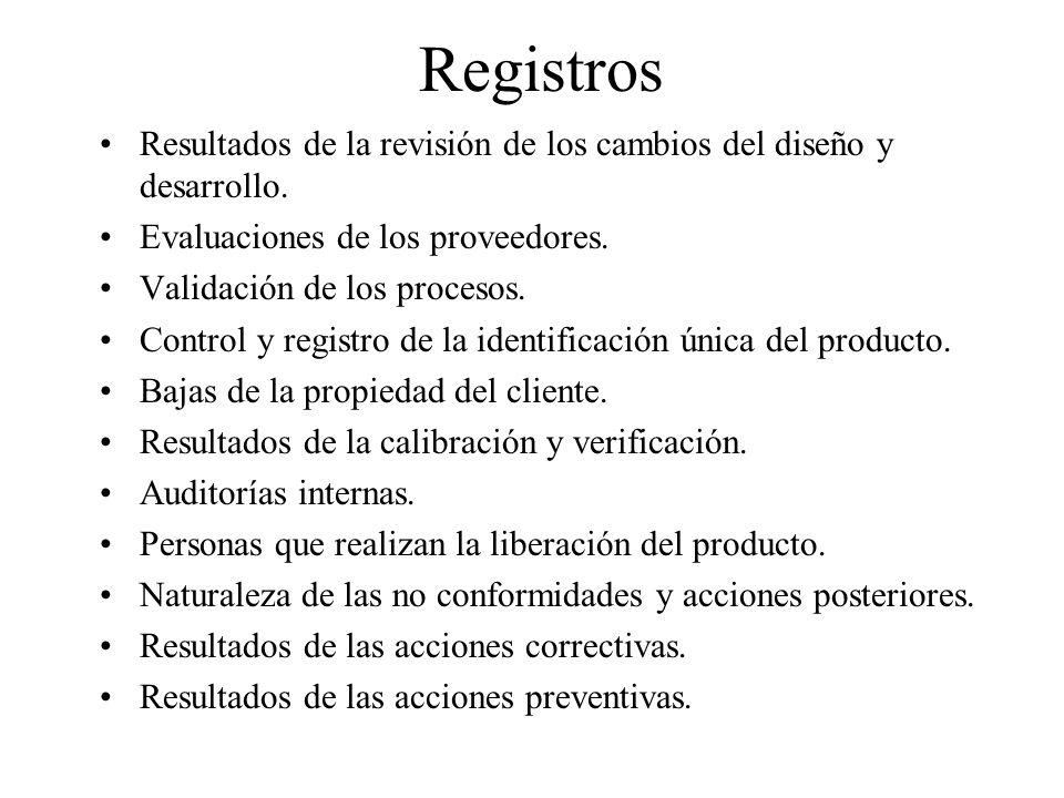 Registros Resultados de la revisión de los cambios del diseño y desarrollo. Evaluaciones de los proveedores. Validación de los procesos. Control y reg