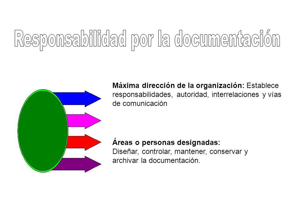 Máxima dirección de la organización: Establece responsabilidades, autoridad, interrelaciones y vías de comunicación Áreas o personas designadas: Diseñ