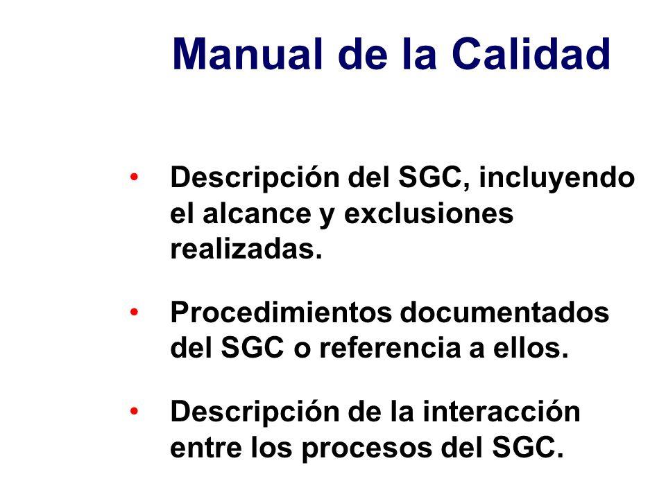 Manual de la Calidad Descripción del SGC, incluyendo el alcance y exclusiones realizadas. Procedimientos documentados del SGC o referencia a ellos. De