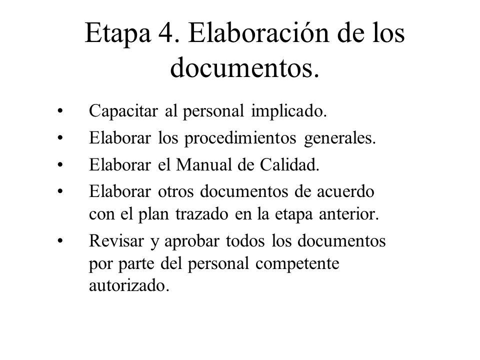 Etapa 4. Elaboración de los documentos. Capacitar al personal implicado. Elaborar los procedimientos generales. Elaborar el Manual de Calidad. Elabora