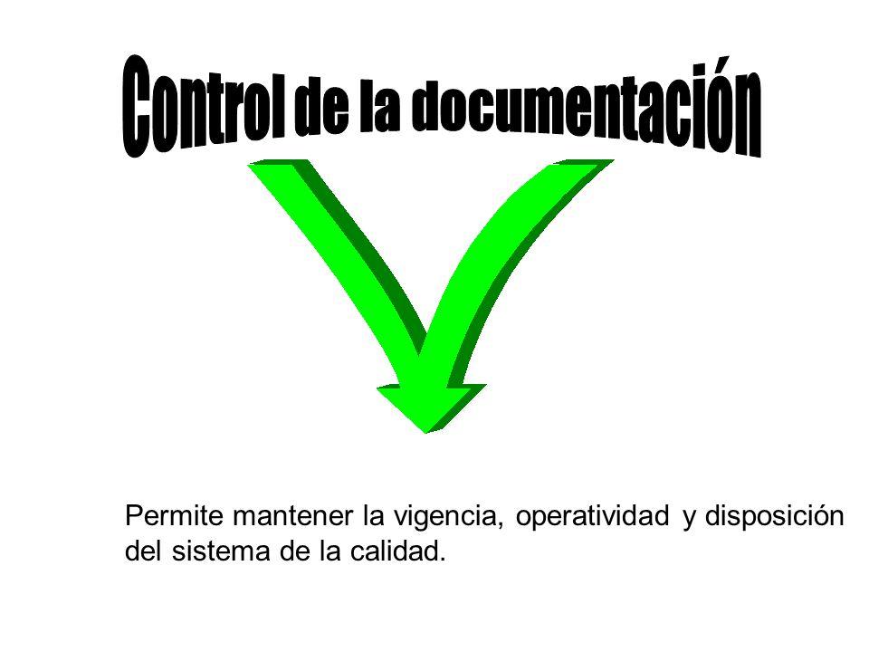 Permite mantener la vigencia, operatividad y disposición del sistema de la calidad.