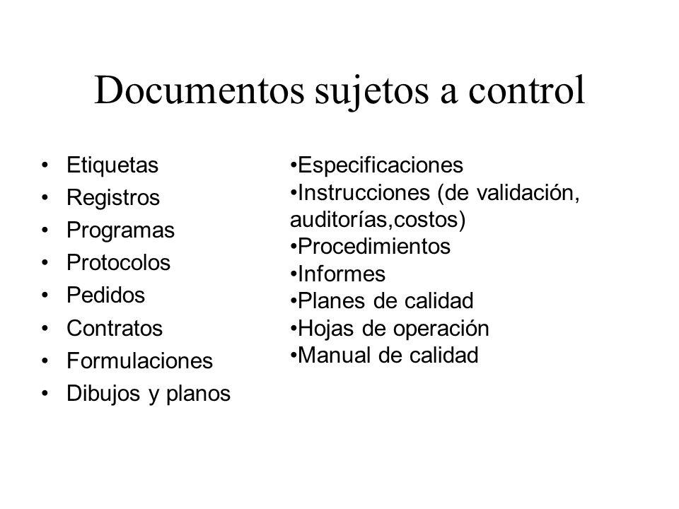 Documentos sujetos a control Etiquetas Registros Programas Protocolos Pedidos Contratos Formulaciones Dibujos y planos Especificaciones Instrucciones
